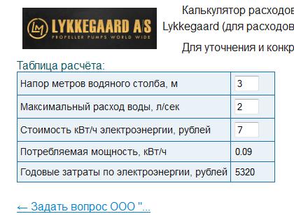 Добавлен калькулятор расходов на электроэнергию для насосов Lykkegaard